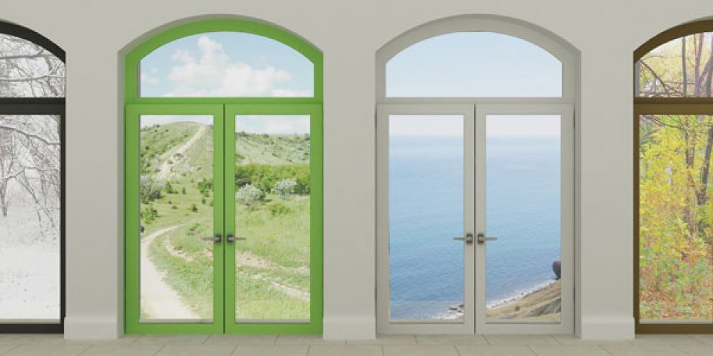 Porte-fenêtre à l'Anglaise en PVC, s'ouvrant vers l'extérieur